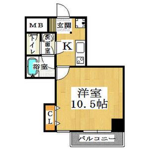 1K Mansion in Nishishinsaibashi - Osaka-shi Chuo-ku Floorplan