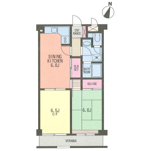 2DK Apartment in Yoga - Setagaya-ku Floorplan