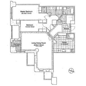 港区赤坂-2LDK公寓 楼层布局