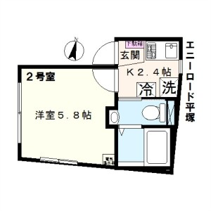 1K Mansion in Hiratsuka - Shinagawa-ku Floorplan