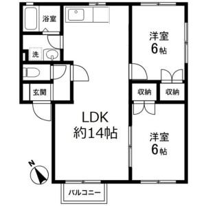 2LDK Apartment in Nakashizu - Sakura-shi Floorplan