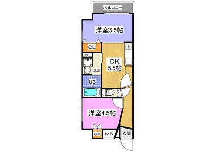 2DK Apartment to Rent in Osaka-shi Kita-ku Floorplan