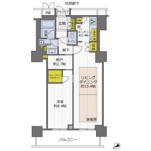 1SLDK {building type} in Kanocho - Kobe-shi Chuo-ku Floorplan