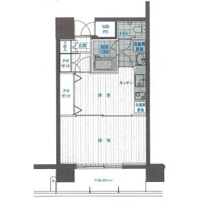 1DK Mansion in Sannocho - Yokohama-shi Minami-ku Floorplan