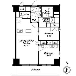 2LDK Mansion in Hiroo - Shibuya-ku Floorplan