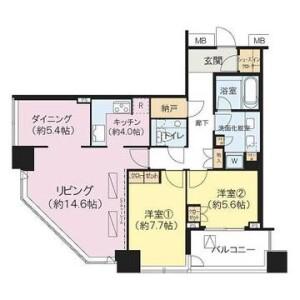 2LDK {building type} in Kinkocho - Yokohama-shi Kanagawa-ku Floorplan