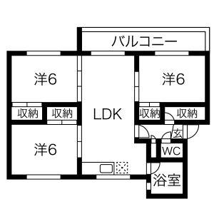 3LDK Apartment in Hitsujigaoka - Sapporo-shi Toyohira-ku Floorplan