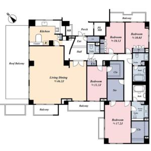 4LDK Mansion in Aobadai - Meguro-ku Floorplan