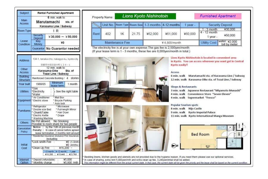 1R Apartment to Rent in Kyoto-shi Nakagyo-ku View / Scenery
