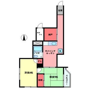 2DK 맨션 in Shinjuku - Shinjuku-ku Floorplan