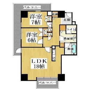 2LDK Mansion in Jusohigashi - Osaka-shi Yodogawa-ku Floorplan