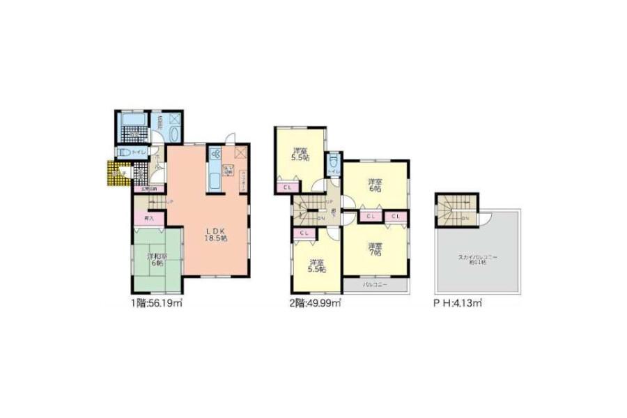 5LDK House to Buy in Sendai-shi Wakabayashi-ku Floorplan