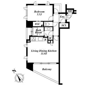 1LDK Mansion in Tomigaya - Shibuya-ku Floorplan