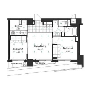 2LDK Apartment in Shirokane - Minato-ku Floorplan