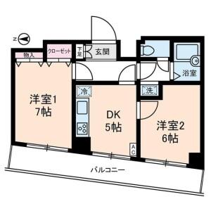 2DK Mansion in Nakameguro - Meguro-ku Floorplan