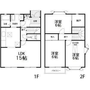3LDK Terrace house in Koyama - Higashikurume-shi Floorplan