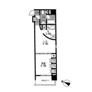 1LDK Apartment in Nishiazabu - Minato-ku Floorplan