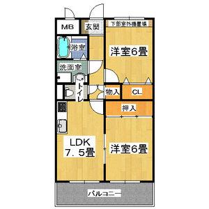 2DK Mansion in Minowa - Toyonaka-shi Floorplan