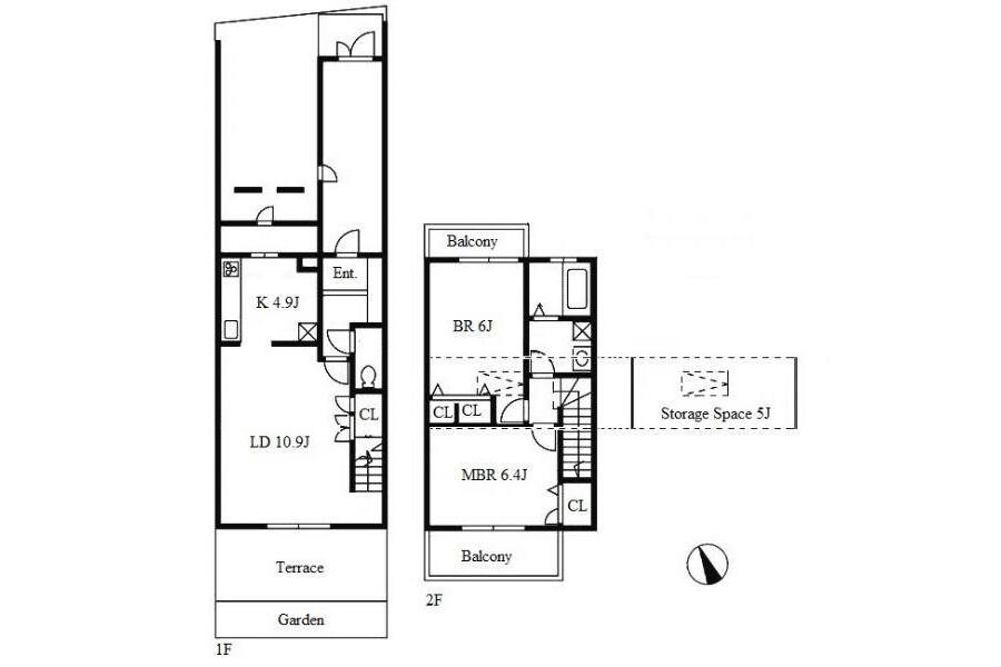 2LDK Terrace house to Rent in Nagoya-shi Higashi-ku Floorplan