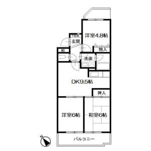 3DK Mansion in Futamatagawa - Yokohama-shi Asahi-ku Floorplan