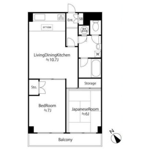 2LDK Mansion in Osaki - Shinagawa-ku Floorplan