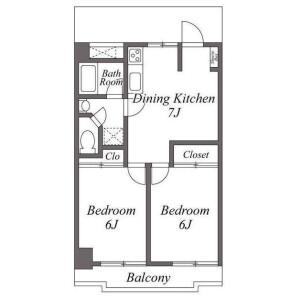 2DK Apartment in Okamoto - Setagaya-ku Floorplan