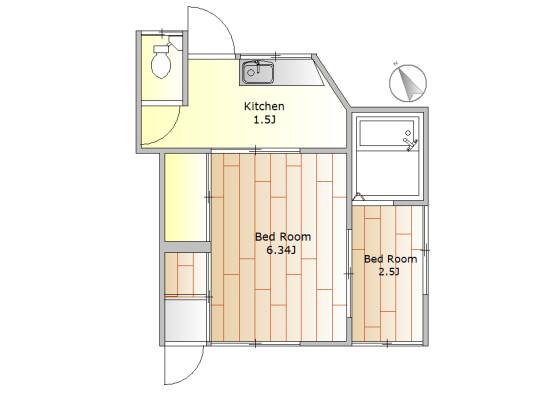 2K Apartment to Rent in Setagaya-ku Floorplan