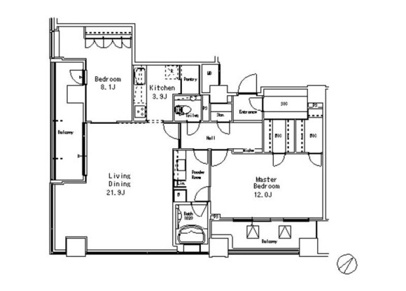 2LDK Apartment to Rent in Meguro-ku Floorplan