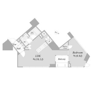 1LDK {building type} in Hatchobori - Chuo-ku Floorplan