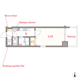 1K Mansion in Shimmachi - Osaka-shi Nishi-ku Floorplan
