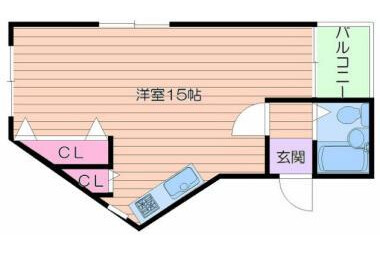 1R Apartment to Rent in Osaka-shi Abeno-ku Floorplan