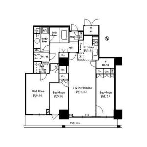 3LDK Apartment in Shibaura(2-4-chome) - Minato-ku Floorplan