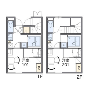 1K Apartment in Maehara - Ina-shi Floorplan