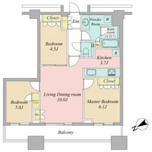 3LDK Apartment in Nishishinjuku - Shinjuku-ku Floorplan