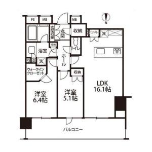 港區麻布十番-2LDK公寓大廈 房間格局