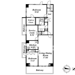 2SLDK Mansion in Minamiazabu - Minato-ku Floorplan