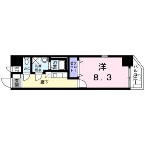 1K Mansion in Toyosu - Koto-ku Floorplan