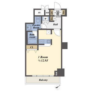 1R {building type} in Roppongi - Minato-ku Floorplan