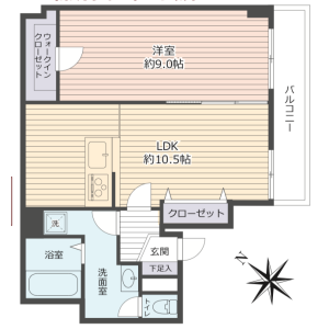 1LDK Apartment in Kugocho - Yokosuka-shi Floorplan