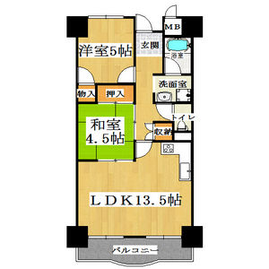 2LDK Mansion in Nonoe - Habikino-shi Floorplan