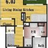 1SK Apartment to Rent in Shinjuku-ku Floorplan