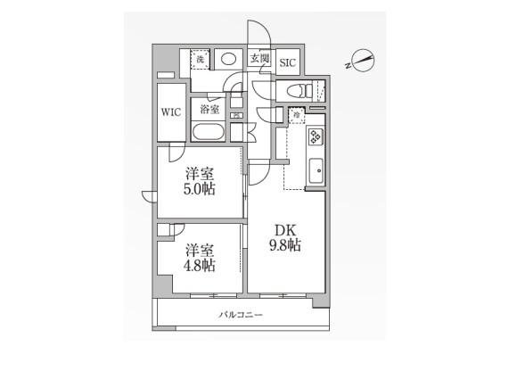2LDK Apartment to Rent in Taito-ku Floorplan