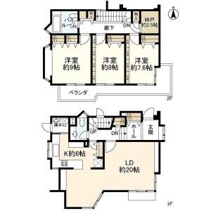 品川区上大崎-3LDK独栋住宅 楼层布局