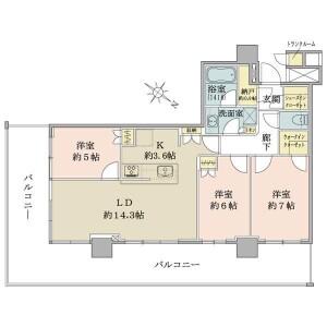 3LDK Apartment in Ariake - Koto-ku Floorplan