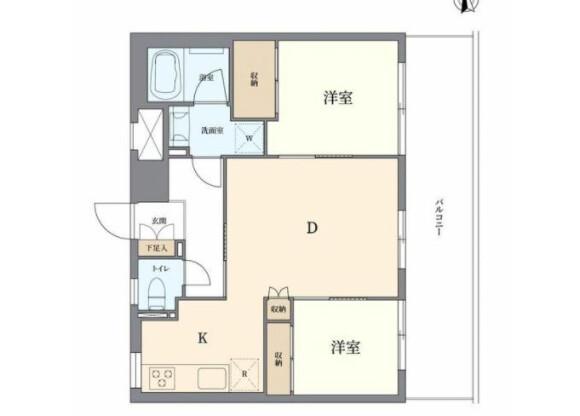 2DK Apartment to Buy in Shibuya-ku Floorplan