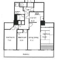 3LDK Mansion in Harumi - Chuo-ku Floorplan