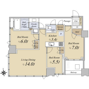 3LDK {building type} in Toyosu - Koto-ku Floorplan