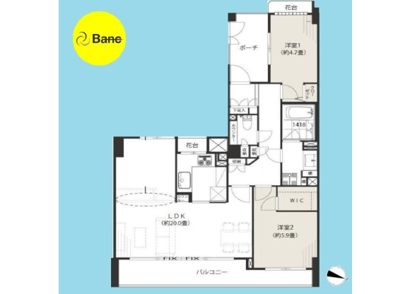 3LDK Apartment to Buy in Meguro-ku Floorplan