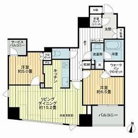 2LDK Mansion in Hirakawacho - Chiyoda-ku Floorplan