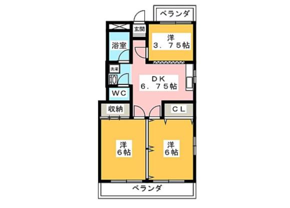 3DK Apartment to Rent in Shibuya-ku Floorplan